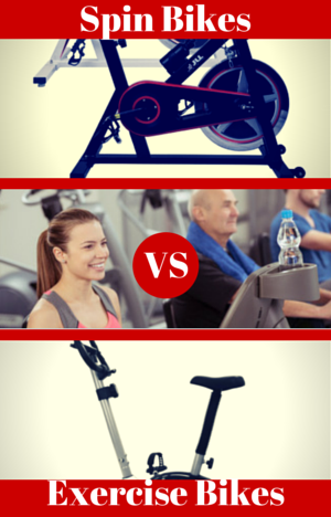 Spin Bikes vs Exercise Bikes - Indoor cycling bike and upright bike with people using