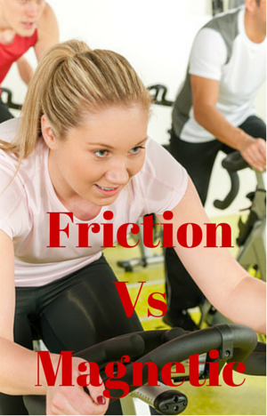 magnetic vs friction resistance for spin bikes - a woman on indoor cycle