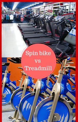 spin bike vs treadmill split picture of both