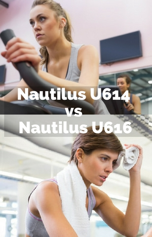 nautilus-u614-vs-nautilus-u616 split image of 2 woman using upright bikes